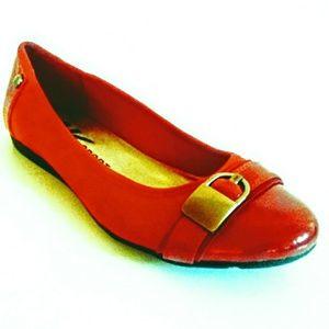 AK Sport Red Patent/Textile Ballet Flats 8M